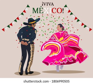 Couple dancing traditional mexican dance, and text in spanish: Long live Mexico