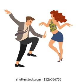 Couple dancing a twist. People in the dance. Cute vector flat hand draw isolated illistration on white background