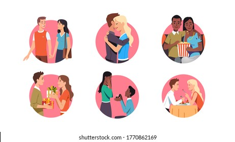 Couple dating set. Men & women holding hands, embracing, watching movie, giving gift, having dinner together. Proposing with ring. Love relationship, romance, Valentines Day. Flat vector illustration