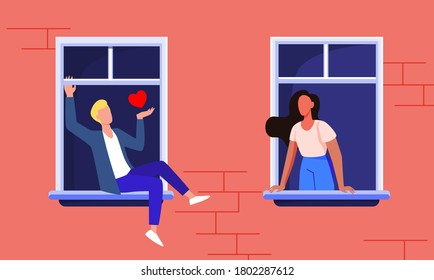 Couple dating through windows. Facade view, neighbor man and woman staying at home and talking flat vector illustration. Romance, quarantine concept for banner, website design or landing web page