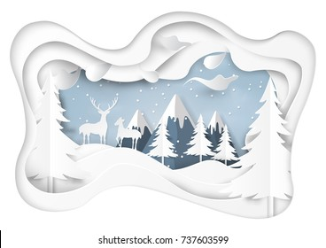 Couple deer on snow and winter season abstract background with mountains and nature landscape for merry christmas and happy new year paper art style.Vector illustration.