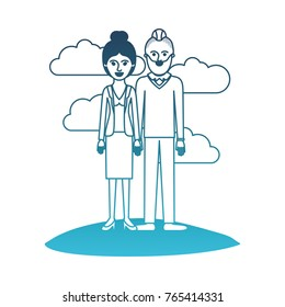 couple in degraded blue silhouette scene outdoor and her with blouse and jacket and skirt and heel shoes with collected hair and him with beard and sweater and pants and shoes with taper fade haircut