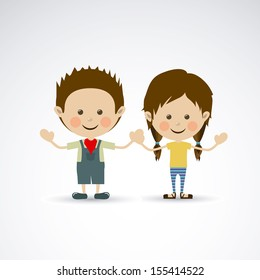 couple design over gray background vector illustration
