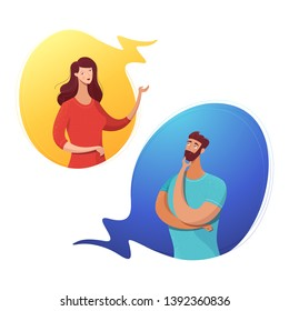 Couple dialog in speech bubbles flat illustration. Cartoon man, woman communicating, gesturing isolated characters. Thoughtful bearded guy. Gender interaction banner, poster design element