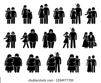 Couple with different body sizes and physical appearance combo. Artworks depict pair husband and wife or boyfriend and girlfriend with different body height, size, age, and looks.