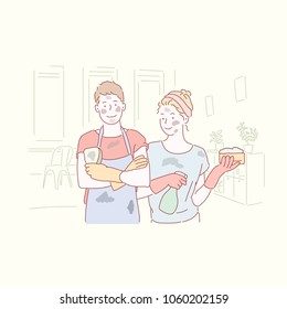 The couple is dirty after cleaning the house. hand drawn style vector doodle design illustrations.