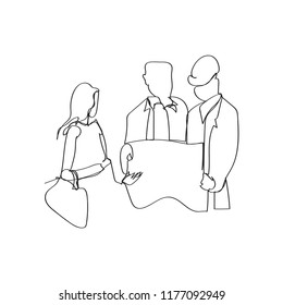 couple discussing construction plan with developer in continuous line drawing style, thin linear vector illustration