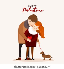 Couple with a dog, Valentine greeting card, vector illustration