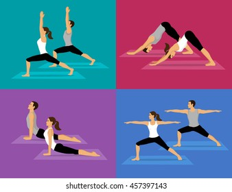 Couple doing Yoga Workout Set. man and woman in warrior one and two, upwards and downwards facing dog poses.