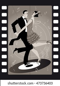A couple dressed in 1920s fashion dancing the Charleston on a vinyl record in an old movie frame, EPS 8 vector illustration, no transparencies