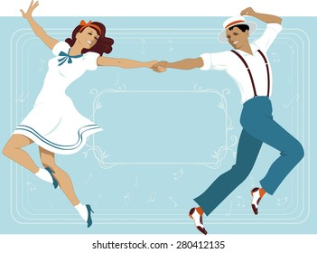 Couple dressed in 1940s fashion dancing in a classic Broadway music theater style, frame with a copy space on the background, EPS 8