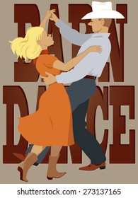 Couple dressed in country-western style dancing polka, lettering 'barn dance' on the background, vector illustration, no transparencies, EPS 8