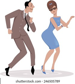 Couple, dressed in late 1950s early 1960s fashion dancing twist, vector illustration, no transparencies, EPS 8