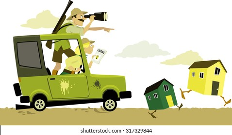 Couple, dressed in safari clothes, pursuing on car running on chicken legs buildings as a metaphor for house hunting, EPS 8 vector illustration, no transparencies