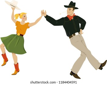 A couple dressed in traditional country western costumes dancing square dance or contradance, EPS 8 vector illustration
