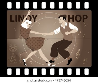 Couple dressed in vintage fashion dancing Lindy Hop in an old movie frame, EPS 8 vector illustration, no transparencies