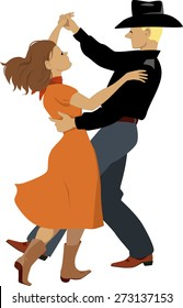 Couple, dressed in Western country clothes dancing polka or contra-dance, vector illustration, no transparencies, EPS 8