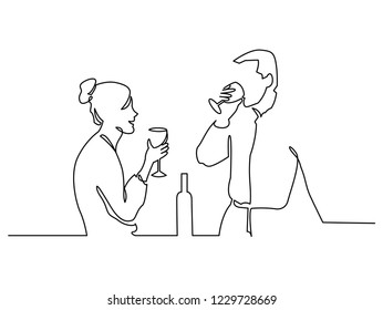 Couple drinking wine continuous one line vector drawing. Lovers. Romantic date. Valentines day celebration. Hand drawn people in love. Girlfriend and boyfriend rest. Minimalistic contour illustration