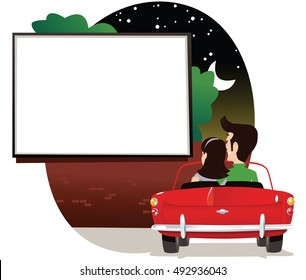 Couple at drive in cinema.