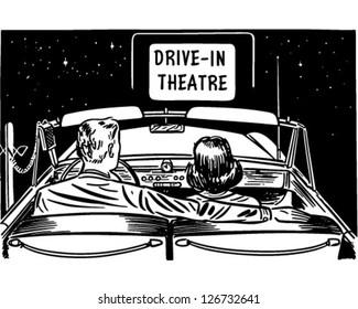 Couple At Drive-In Theatre - Retro Clipart Illustration