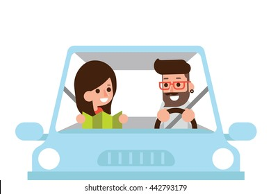 Couple driving car with map, flat design cartoon.