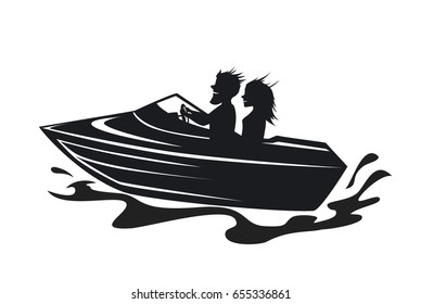 couple driving speed boat silhouette graphic