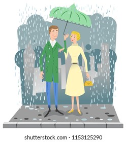 Couple during rain on sidewalk, man holding umbrella, city silhouette in background (vector illustration)
