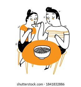 Couple eating dinner, Vector Illustration doodle style