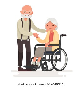 Couple of elderly people. Grandpa near grandmother in a wheelchair. Vector illustration in a flat style