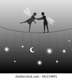 couple of elf on the rope in fairy night with moon and stars on the tread, boy elf support the girl, romantic date in shadow or silhouette, vector