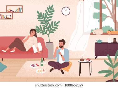 Couple enjoy romantic date at home vector flat illustration. Man and woman having dinner with champagne and snack. Male and female sitting on floor and couch. Enamored pair spending time together.