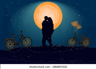 Couple in evening under the orange moon in love atmosphere.Valentine's day card with romantic couple and bike. Happy Lovers.Romantic silhouette of loving couple in Valentines night.Vector illustration
