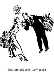 Couple Exchanging Gifts - Retro Clip Art Illustration