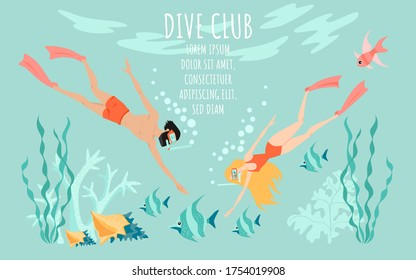 The couple explores the underwater world. Diving club vector banner template with two divers surrounded by fish, algae and coral. Cartoon illustration in a flat style.