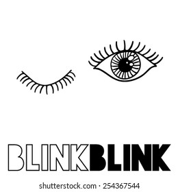A couple of eyes,sketched,blinking in vector