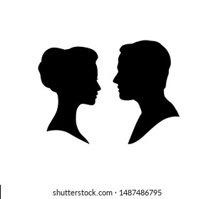 Couple faces in love. Couple facing each other silhouette. Man and woman profile.