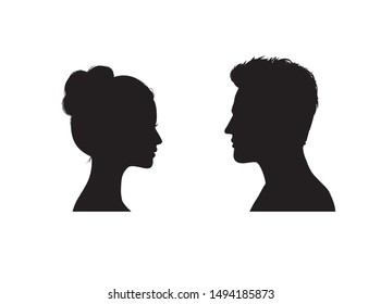 Couple faces silhouette. Man and woman profile.