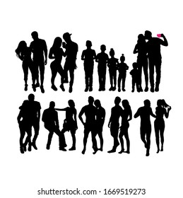 Couple And Family Silhouettes, art vector design