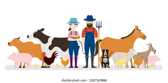 Couple of Farmers and Dog with Farm Animals, Farming, Farmland, Agriculture Product