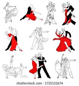 couple figures dancing tango rumba latinos