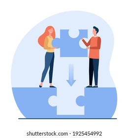 Couple filling gap between them. Man and woman placing missing piece of puzzle. Flat vector illustration. Relationship, connection, link concept for banner, website design or landing web page