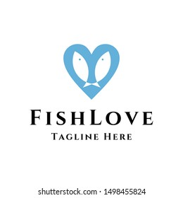 couple fish love heart shape care logo icon vector template