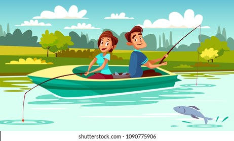 Couple fishing vector illustration of young man and woman in boat with rods on lake for weekend holiday. Cartoon people in love together spend romantic time catching fish looking at each other