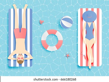 Couple floating on the beach with beautiful sea background vector illustration