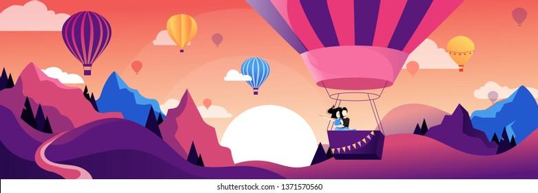 Couple flying hot air balloon above mountains. Air balloon festival vector flat illustration. Romantic summer travel concept.
