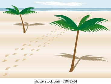 Couple of footprints on a beach with palmtrees