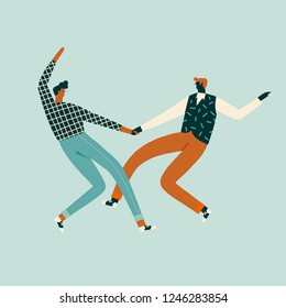 Couple of friends dancing retro rock-n-roll dance vector illustration