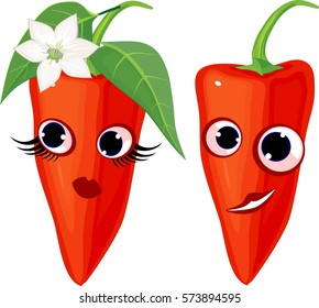 Couple of funny peppers. Personification of the gender symbols