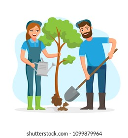 Couple of gardeners, farmers planting tree in the park vector flat illusration isolated on white background. Young cheerful people working in garden.