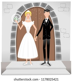 Couple getting married, wearing wedding dress and suit in front of a church portal (vector illustration)